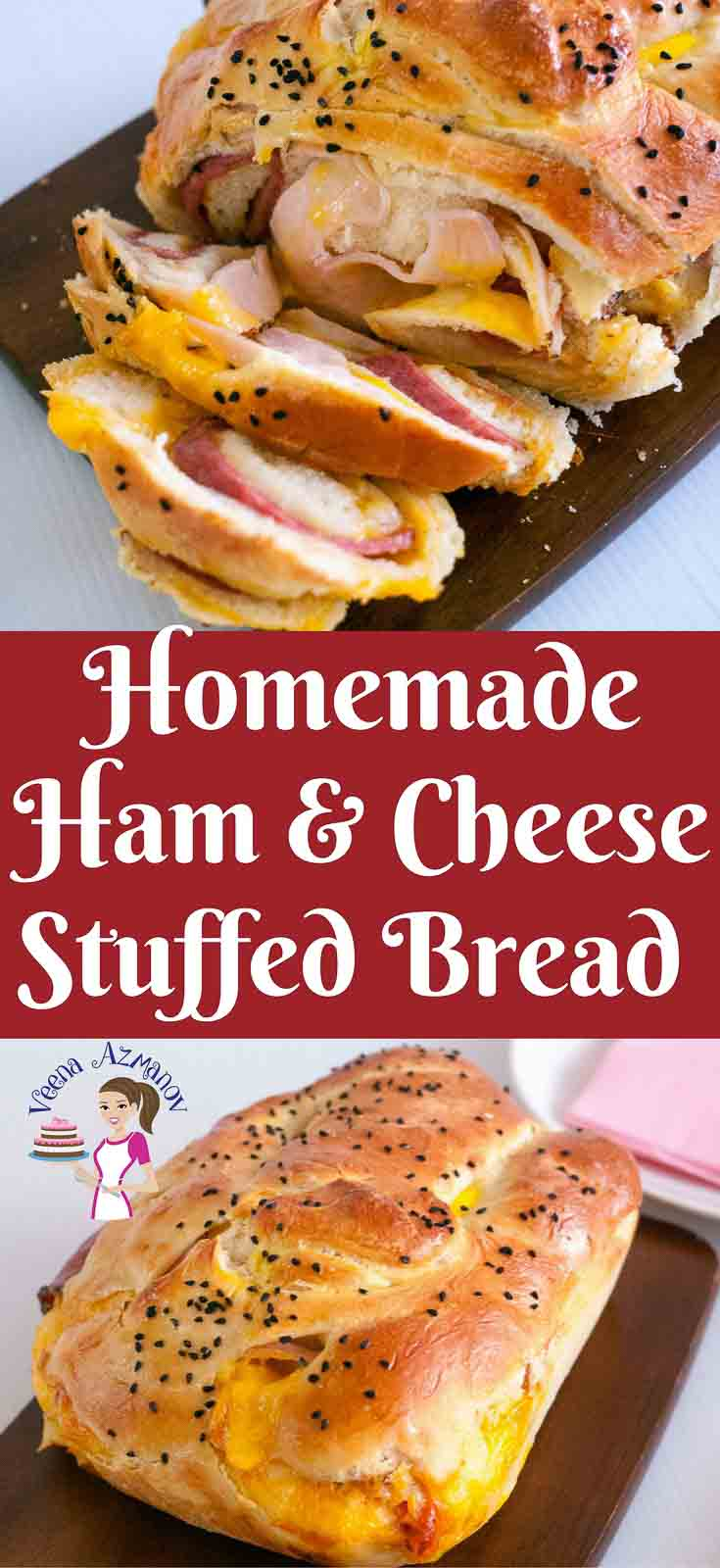 Homemade Ham And Cheese Stuffed Bread Recipe Veena Azmanov