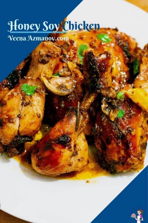 Pinterest image for honey soy chicken