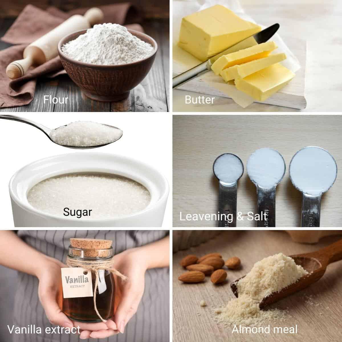 Ingredients for almond crinkle cookies.