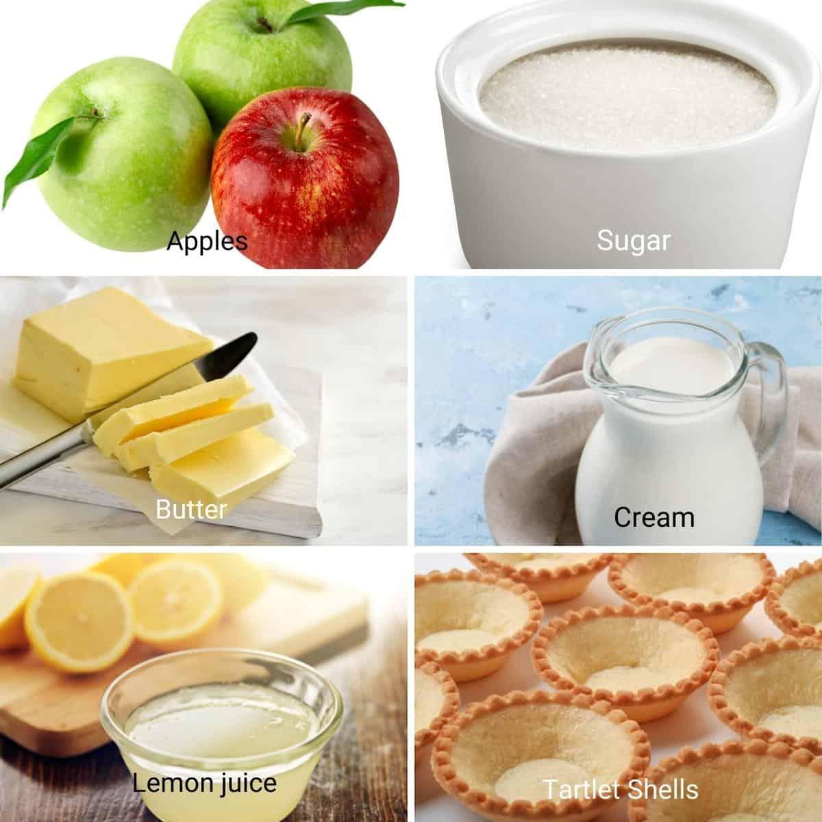Ingredients for caramel apple tartlets.