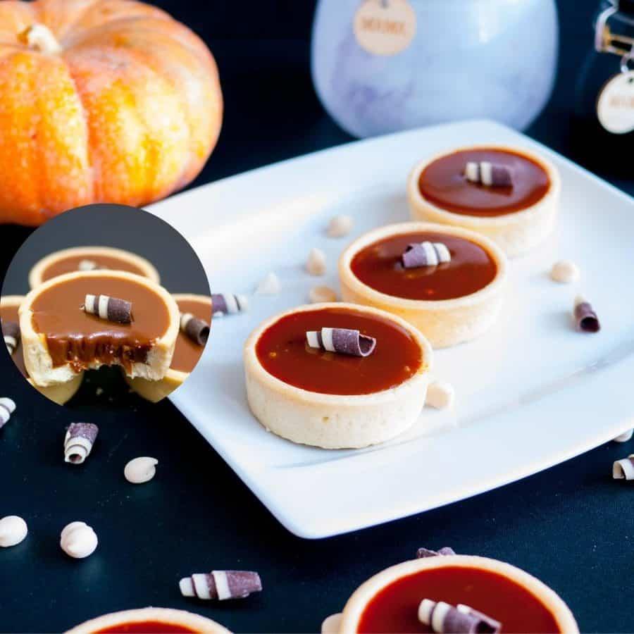 Pumpkin mini tarts on a plate.