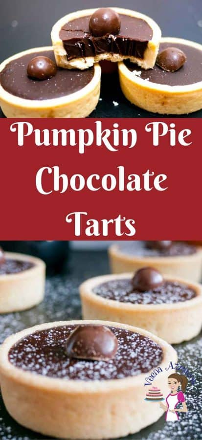 These pumpkin pie chocolate tarts make an exotic dessert table in fall or anytime of the year. With rich flavors like cinnamon, nutmeg and ginger these are bound to warm you up while you indulge in the heavenly chocolate filling that just melts in the mouth.
