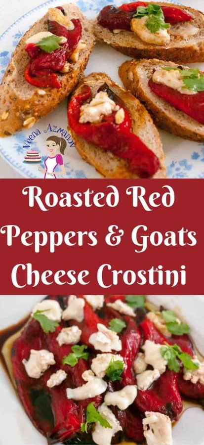 Roasted Red Peppers and goats cheese crostini are perfect antipasti aka appetizers before any meal and so simple and easy to make.