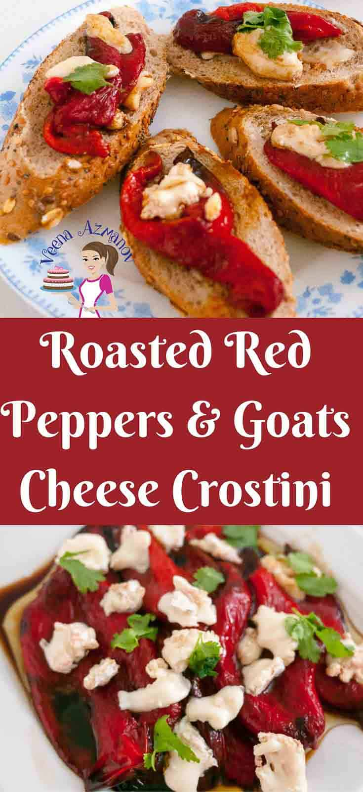 These roasted red pepper goats cheese crostini are an absolute treat served as a snack on it's own or as an appetizer to get your taste buds ready for a wholesome meal. The sweet roasted red peppers are marinated in balsamic and olive oil combined with creamy goats cheese over warm crusty bread