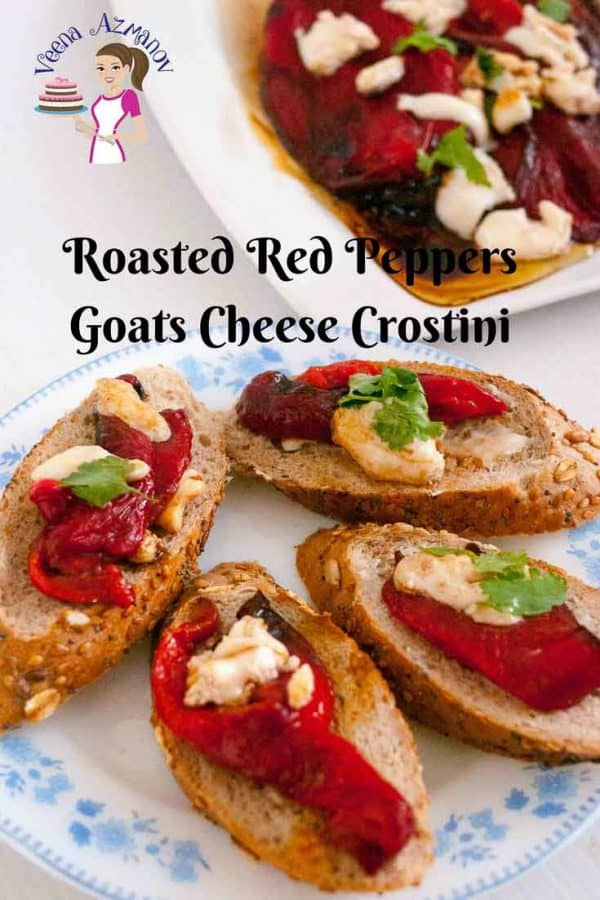 A plate with roasted red pepper and goat cheese crostini.