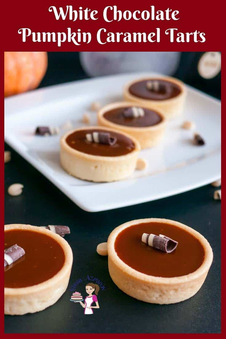 Caramel and pumpkin mini tarts on a plate.