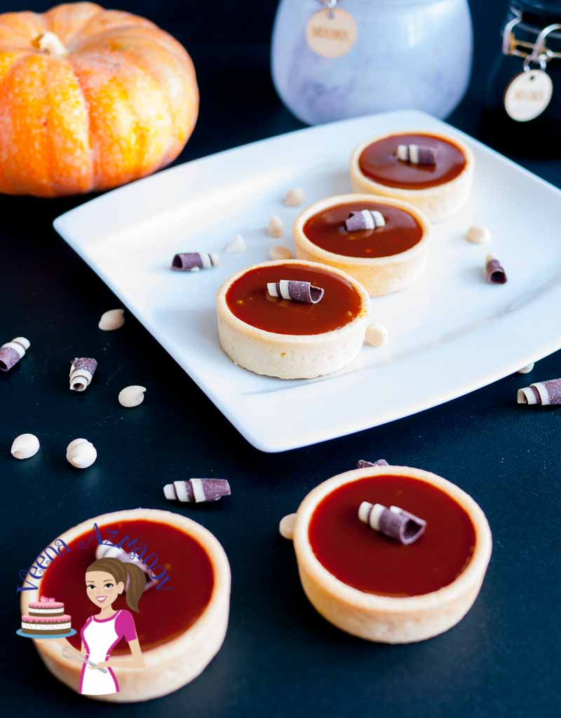 How to make mini tarts with fall flavors of pumpkin, caramel and chocolate