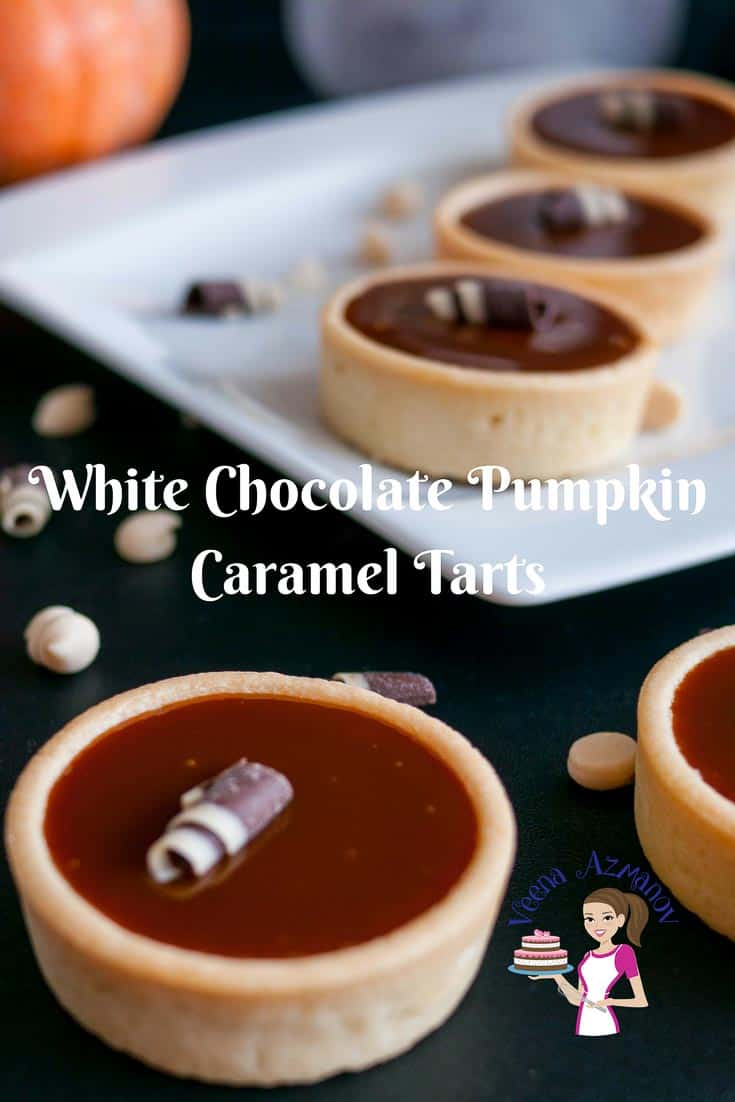 These white chocolate pumpkin caramel tarts made with sweet caramel enriched with the seasons pumpkin puree and pumpkin spice. They are simple easy and effortless. Weather you want to go semi homemade or baked from scratch these are an elegant way to entertain or dress a dessert table.