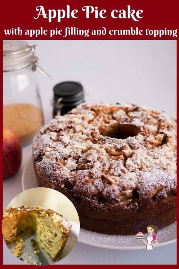 An apple cake on a plate.