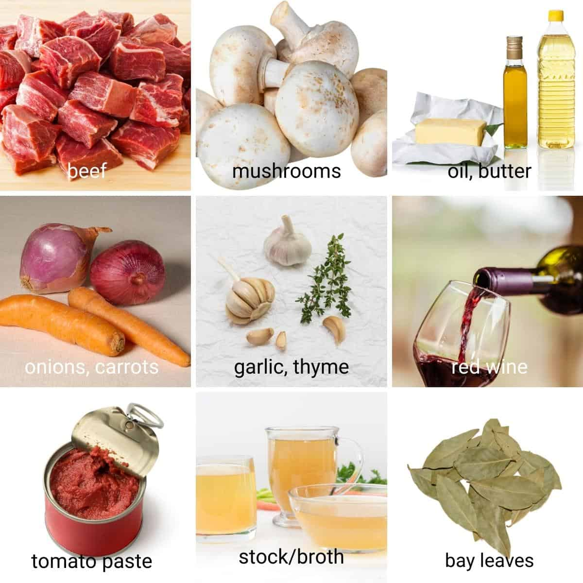 Ingredients shot collage for beef bourguignon.