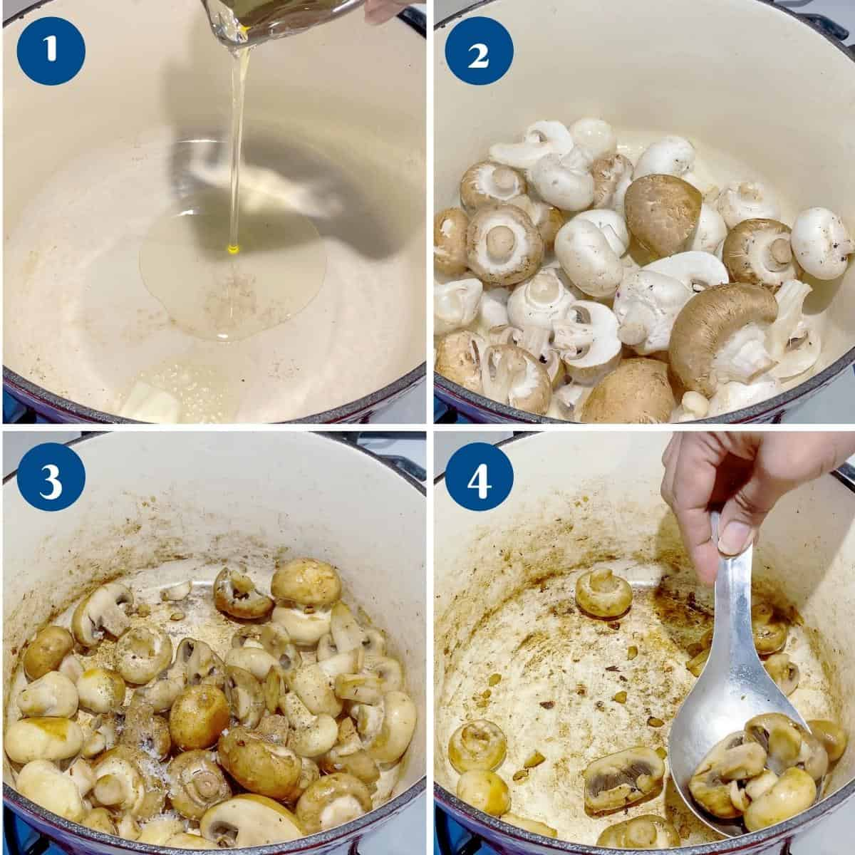 Progress pictures collage for beef bourguignon.