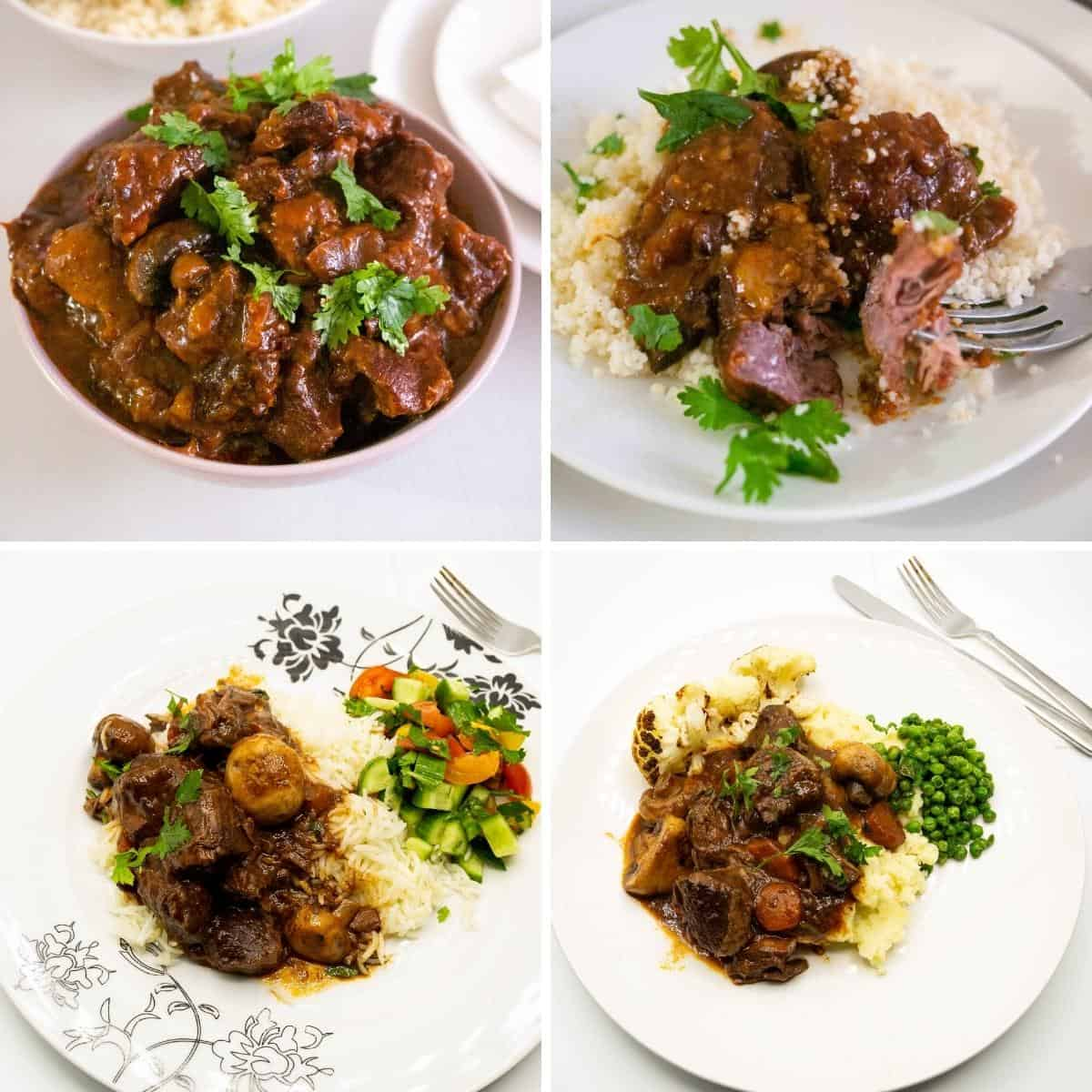 Collage sharing different ways to serve beef bourguignon.