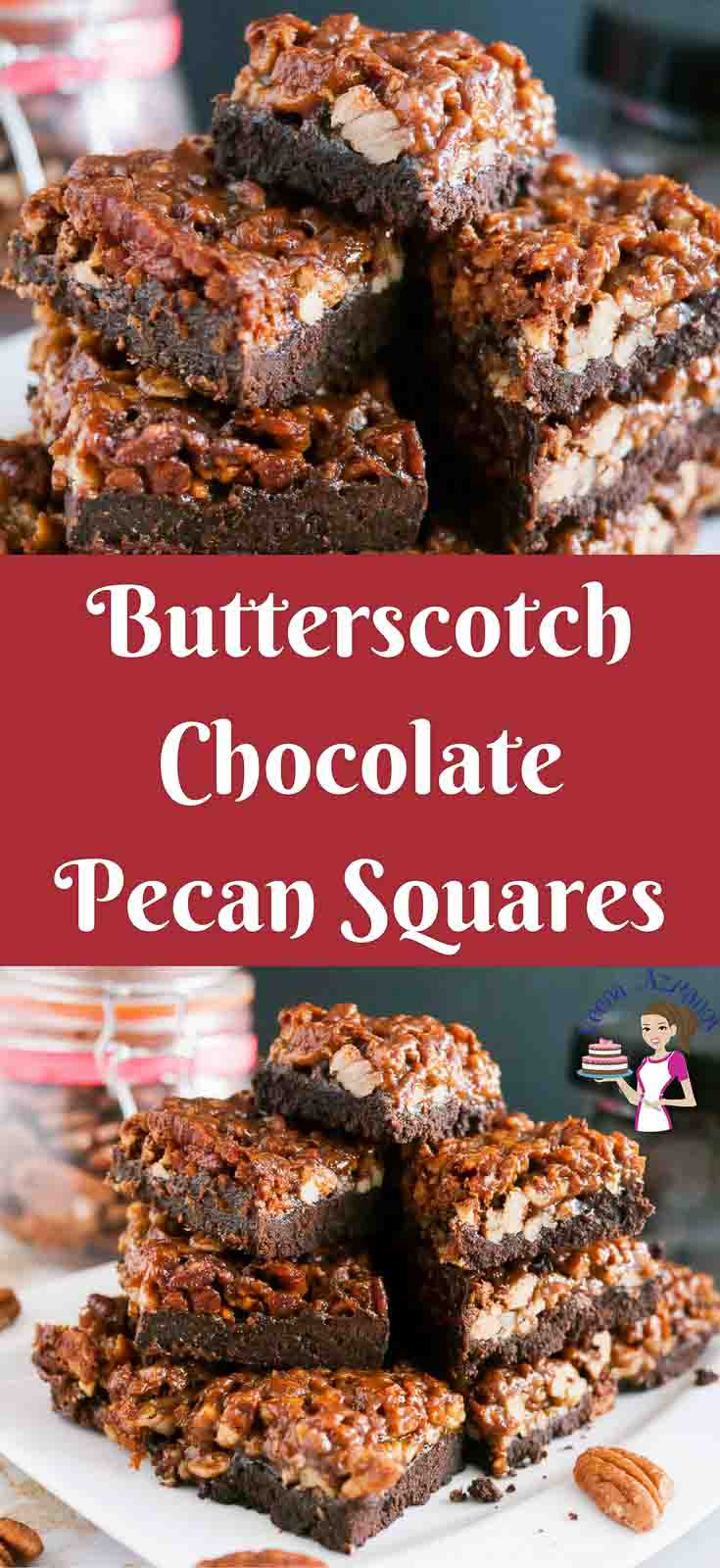 These butterscotch chocolate pecan squares are a real treat. Crisp biscuit base with a hint of cocoa and topped with rich butterscotch flavor pecans that just melt in the mouth. A Simple easy and effortless recipe that works great weather you want to make just for the family, treat guest or pack into a jar as a Food Gift Idea.