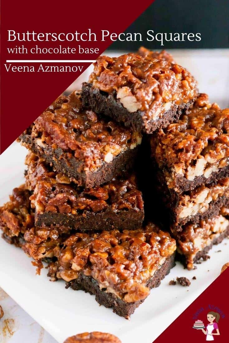 Pecan Squares with chocolate and butterscotch flavors