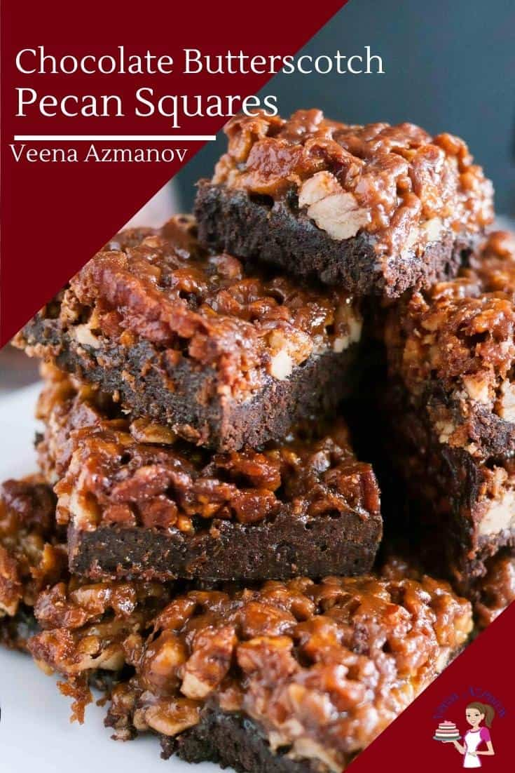 These butterscotch chocolate pecan squares are a crisp shortcrust base with a hint of cocoa and topped with rich butterscotch coated pecans that just melt in your mouth. A simple and easy snack any time of the year but great to gift during the holidays #butterscotch #pecan #chocolate #chocolatebutterscotch #butterscotchpecan #squares #pecansquares #bars #holidaytreats #holidaygifts #Christmas #pecanbars #chocolatebars  via @Veenaazmanov