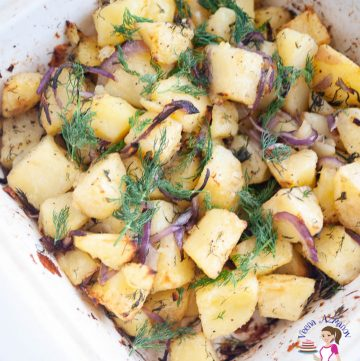 A casserole dish with roasted potatoes