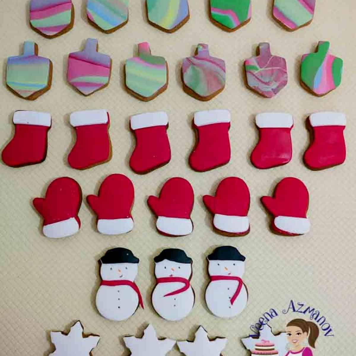 Decorated sugar cookies on a table