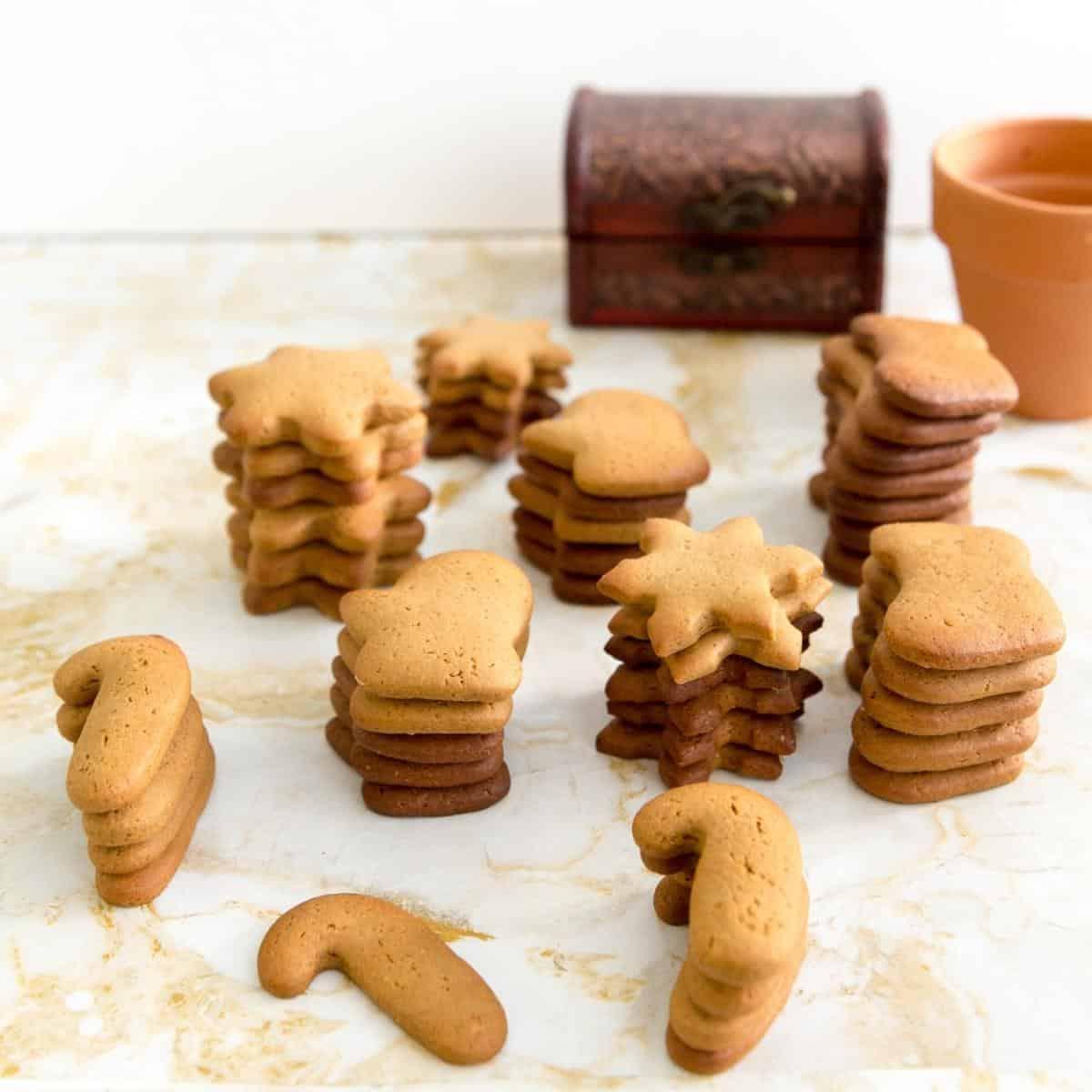 Stacks of gingerbread sugar cookies