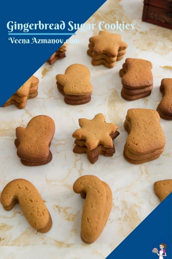 Pinterest image for gingerbread sugar cookies