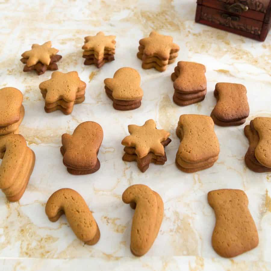 Stacks of ginger flavor sugar cookies