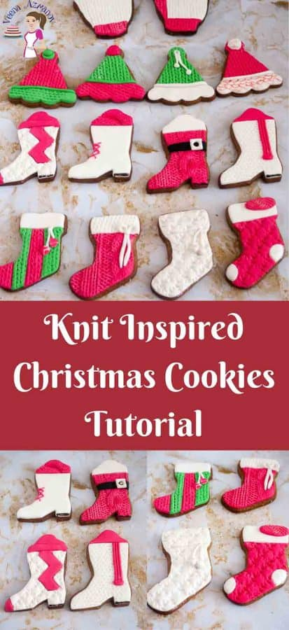 Text: knit inspired Christmas cookies tutorial.