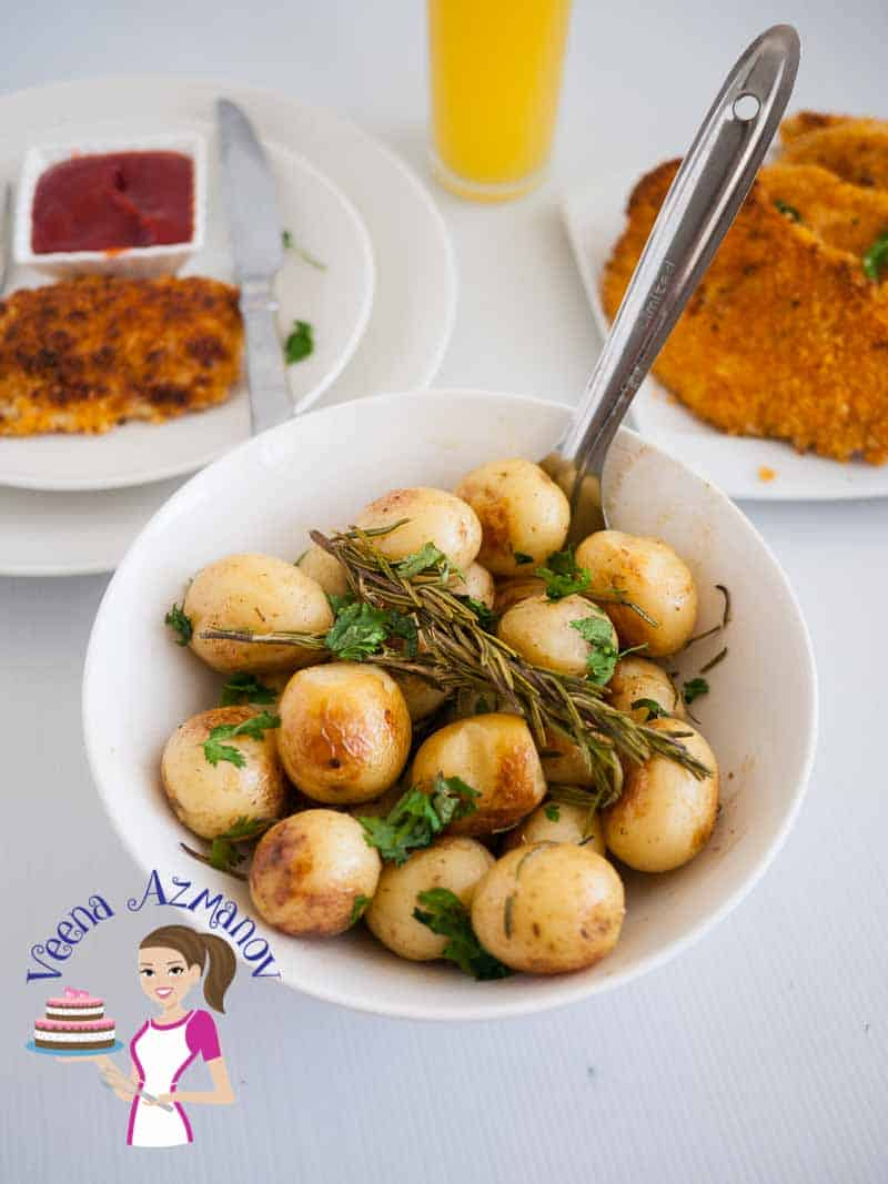 Easy to make Oven roast baby Potatoes with rosemary, garlic and lemon