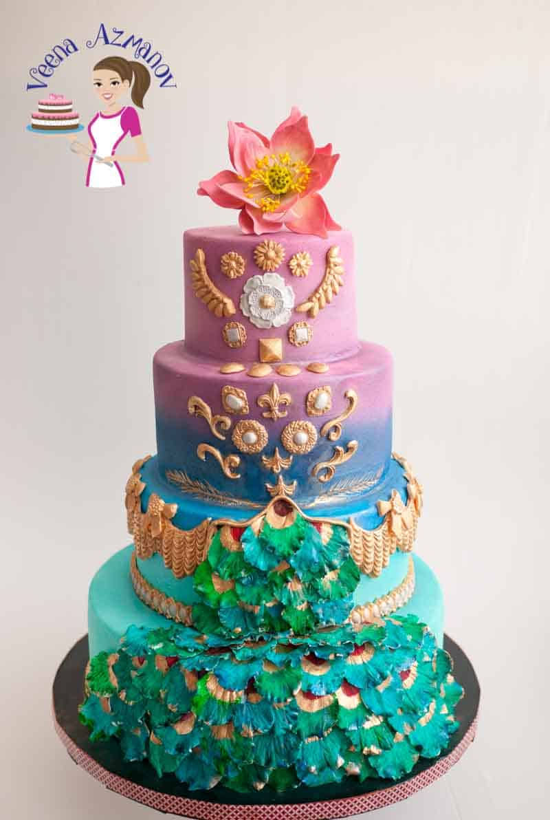 This peacock inspired wedding cake was my contribution to the Incredible India Collaboration along side more than 100 Indian and International cake artist from around the world.
