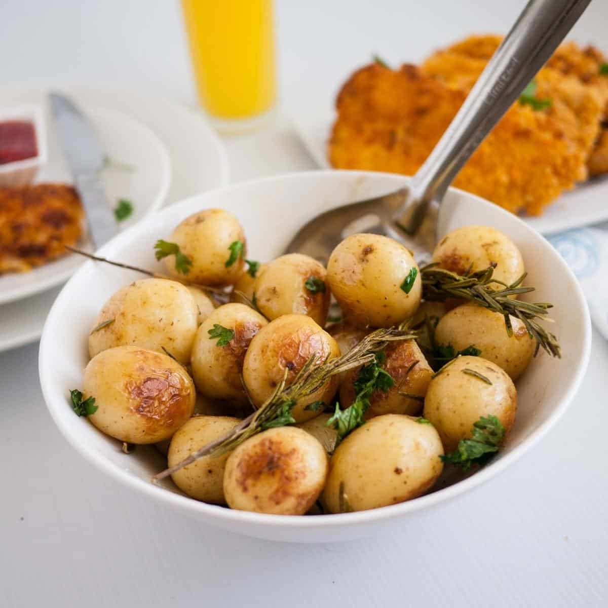 A bowl with roast potatoes