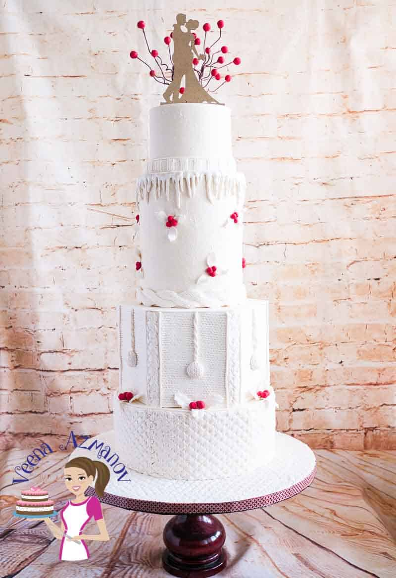 Knit Inspired Winter Wedding Cake