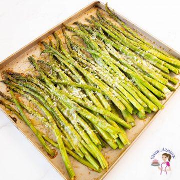 Roasted asparagus on a baking tray