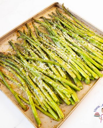 Roasted asparagus on a baking tray