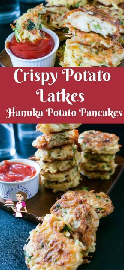 Nothing says Hanuka better than potato latkes for dinner and jam doughnuts for dessert. This simple, easy and effortless recipe makes the best potato pancakes; crispy on the outside soft tender flavored potato on the inside. Seasoned with onions, garlic and fresh herbs these are truly festive.
