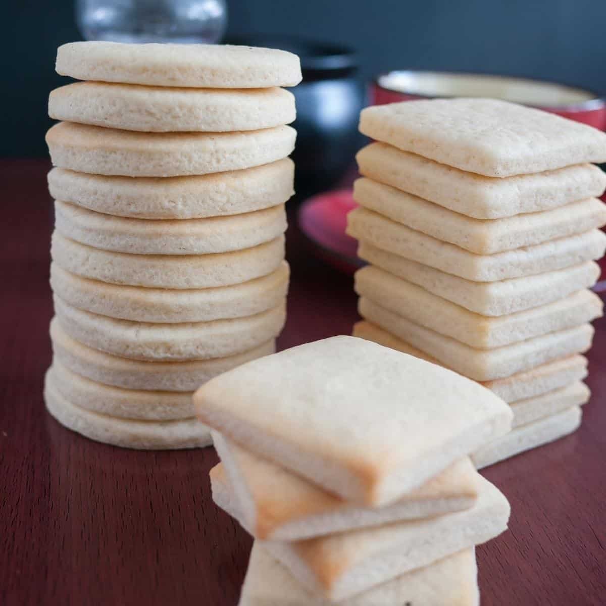 Stack of vanilla sugar cookies on the table