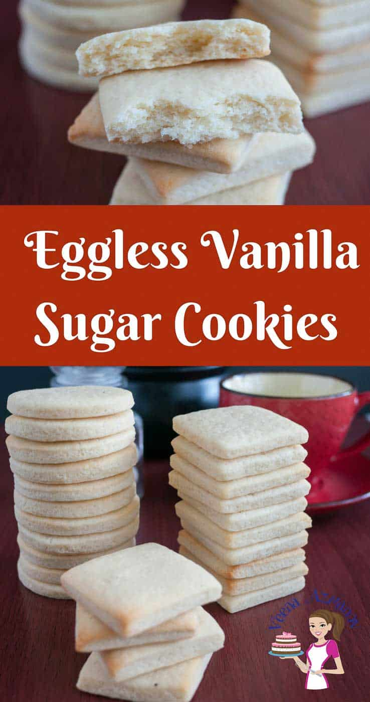 These eggless vanilla sugar cookies are light, airy with shortbread texture that just melts in the mouth. A simple, easy and effortless recipe that will have you bake these cookies in less than thirty minutes whether you baking just for a daily tea time snack or to give away as a gift during holidays.