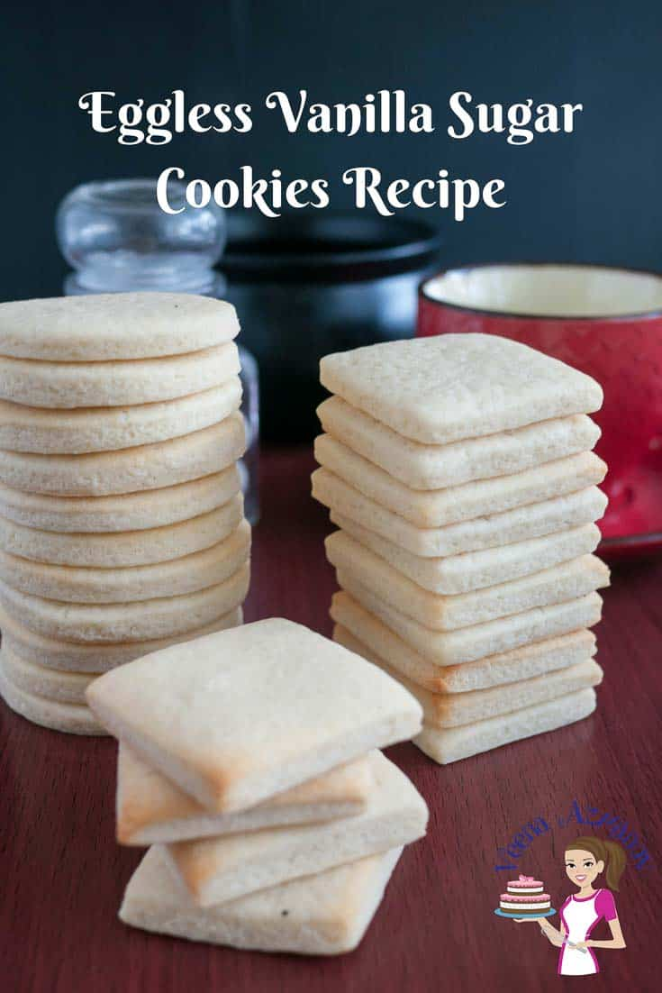 These eggless vanilla sugar cookies are light, airy with a shortbread texture that just melt in the mouth. A simple, easy and effortless recipe that will have you bake these cookies in less than thirty minutes whether you baking just for a daily tea time snack or to give away as gifts during holidays.