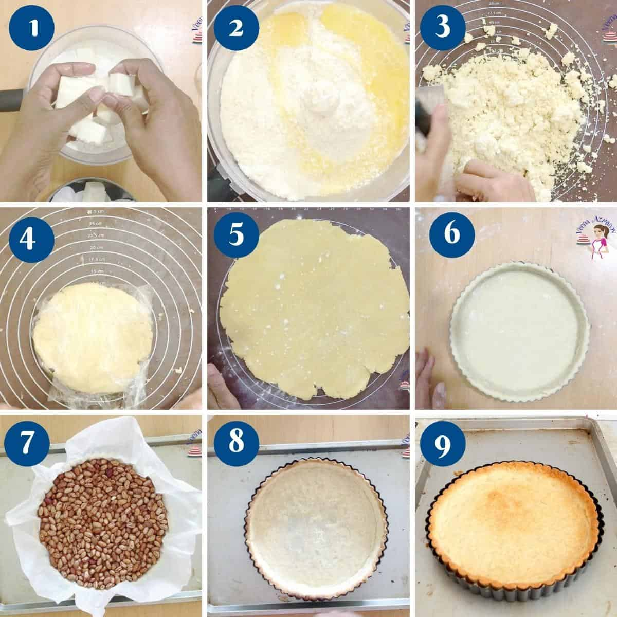 Progress pictures collage making shortcrust pastry for blueberry tart.