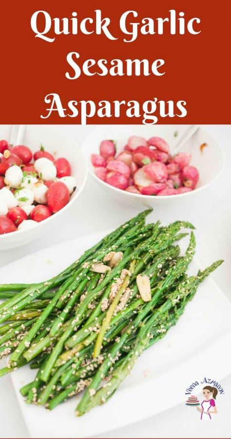 How to saute asparagus with garlic and sesame seeds in under 10 minutes.