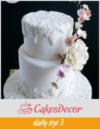A cake decorated with a bas relief design.