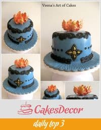 A cake decorated with black and blue lace.