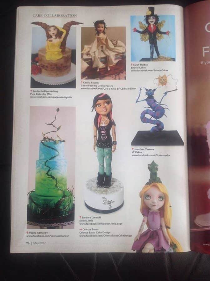 A page from a cake decorating magazine.