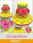 A cake decorated with sugar flowers.