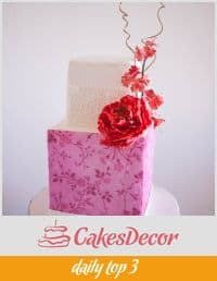 A cake decorated in a cherry blossom theme.