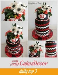 A cake decorated with a chevron design.