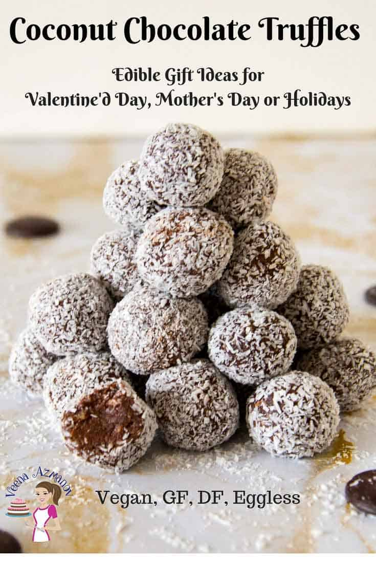 Pinterest image for Coconut Chocolate Truffles make perfect valentine day or mothers day treat as well as perfect gift ideas for holidays