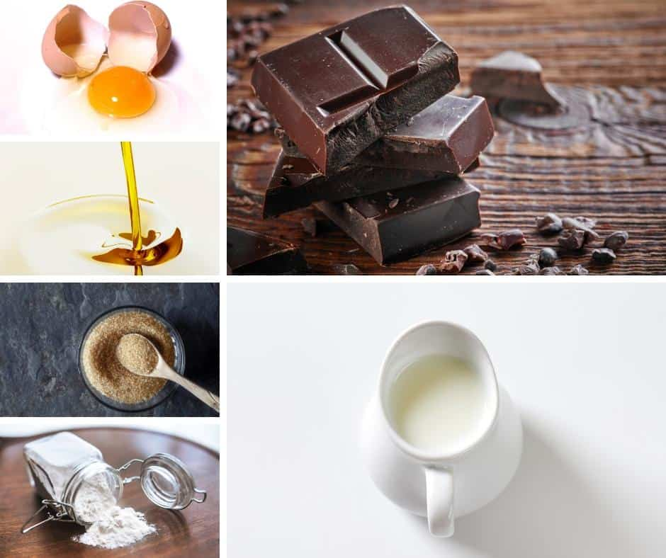 A collage of ingredients for making a Chocolate cake.