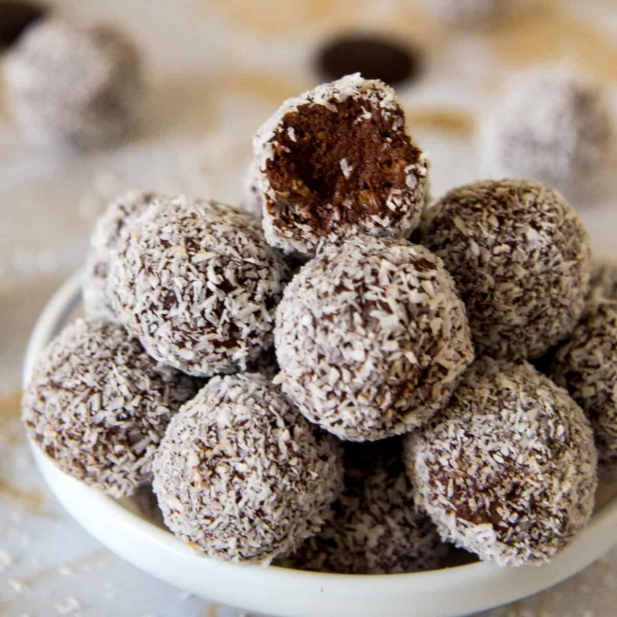 A stack of coconut chocolate truffles