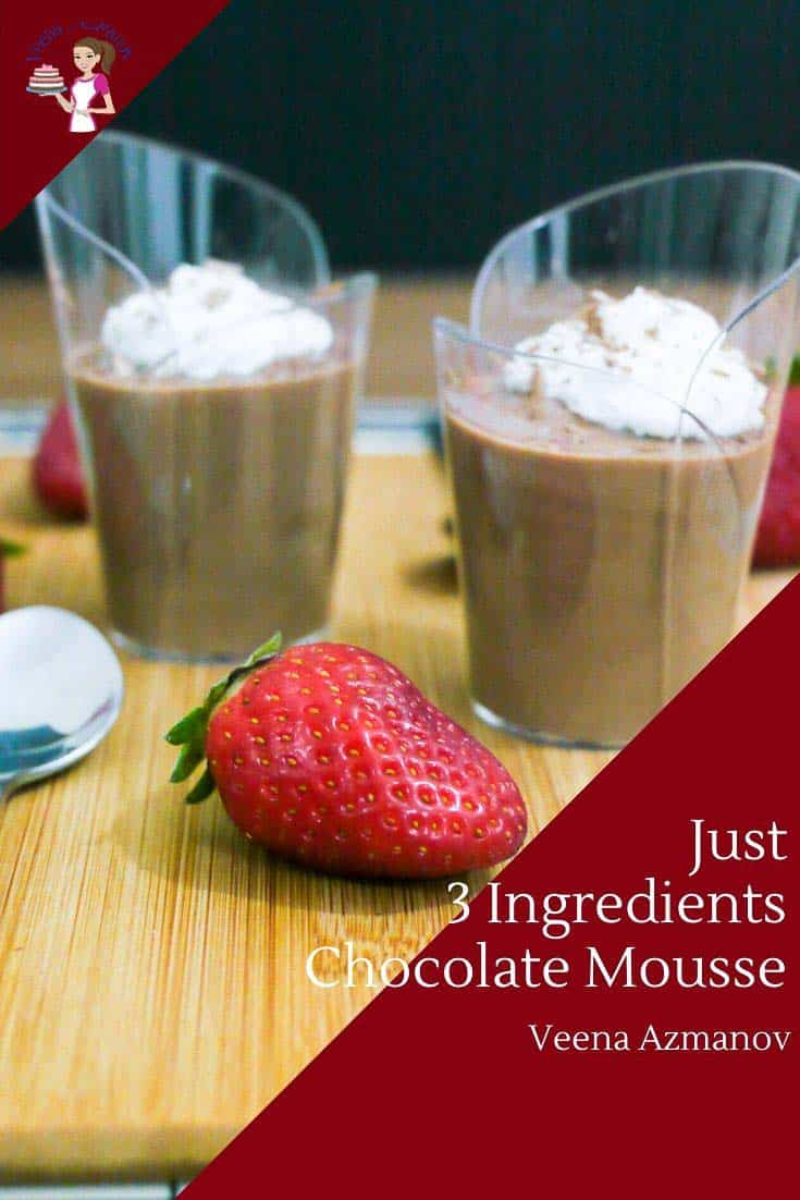 This is my cheat's recipe for chocolate mousse. One I make when I need something quick and easy with little time to prep or chill. It uses only three ingredients and is rich, creamy, and decadent, yet light and airy. Perfect when you want to celebrate a special occasion or just Valentine's Day with your loved one. #chocolatemousse #mousserecipes #chocolaterecipes #chocolatedesserts #mousserecipes #desserts via @Veenaazmanov