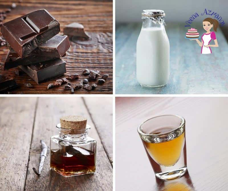 A collage of the ingredients for making chocolate mousse.