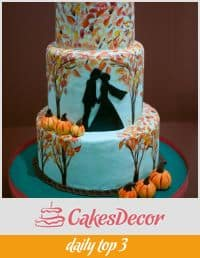 A fall inspired wedding cake.
