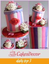 A cake decorated like a gift box.
